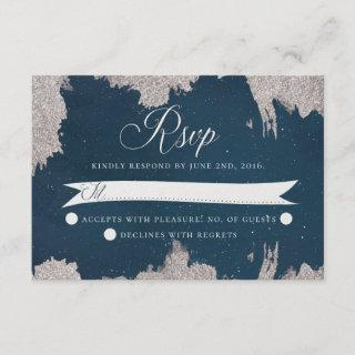 Navy Blue Silver Celestial Star Wedding RSVP Card