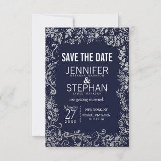 Navy Blue Silver Floral Glitter Wedding Save The Date