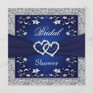 Navy Blue, Silver Floral, Hearts Bridal Shower Invitations
