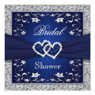 Navy Blue, Silver Floral, Hearts Bridal Shower Invitation