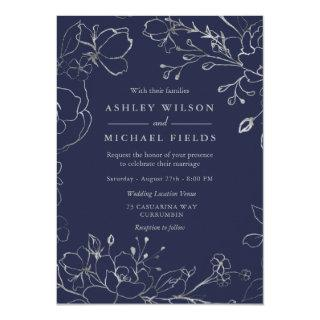 Navy Blue & Silver Gray Floral Modern Wedding Invitation