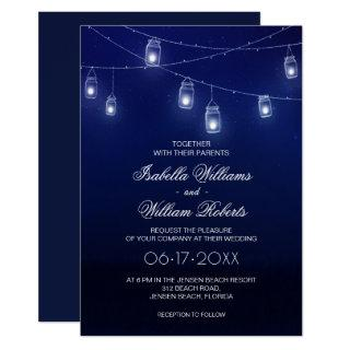 Navy Blue & Silver Mason Jar String Lights Wedding Invitations