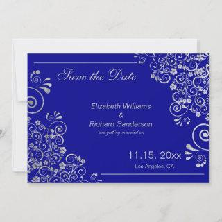 Navy Blue Silver Save the Date  Wedding