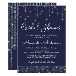 Navy Blue Silver String Lights Bridal Shower Invitations