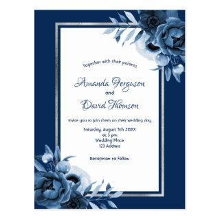 Navy blue silver white florals wedding invitation postcard