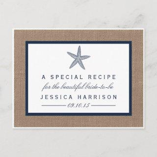 Navy Blue Starfish Beach Bridal Shower Recipe Card