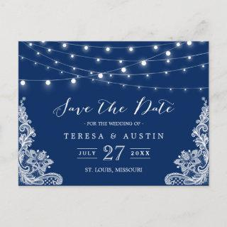 Navy Blue String Lights Elegant Lace Save the Date Announcement Postcard