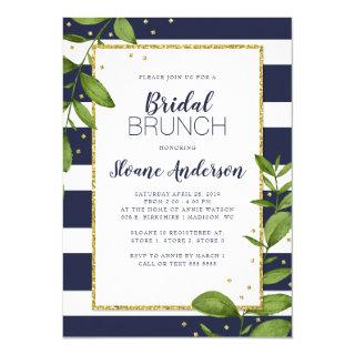 Navy Blue Stripes Botanical Bling Bridal Brunch Invitation