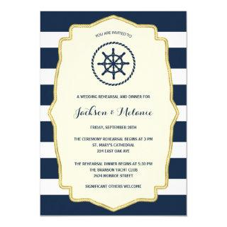 Navy Blue Stripes | Nautical Rehearsal Dinner Invitation