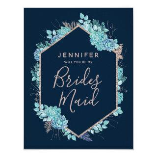 Navy Blue Succulents Will You Be My Bridesmaid Invitation