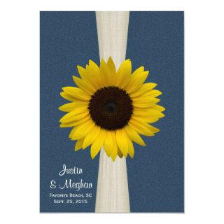 Navy Blue Sunflower and Burlap Wedding Invitations