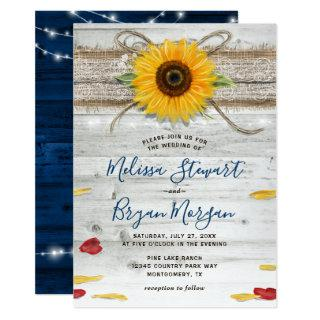 Navy Blue Sunflower Rose Wood Lace Rustic Wedding Invitations