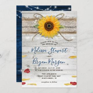 Navy Blue Sunflower Rose Wood Lace Rustic Wedding Invitation