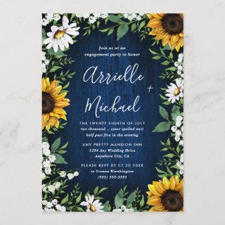 Navy Blue Sunflower Rustic Boho Engagement Party Invitation