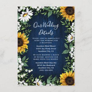 Navy Blue Sunflower Rustic Wedding Enclosure Card