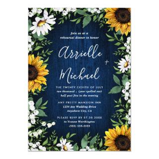 Navy Blue Sunflower Rustic Wood Rehearsal Dinner Invitations
