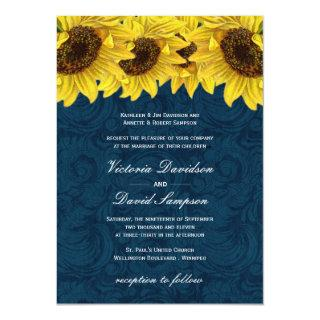 Navy Blue Sunflower Wedding Invitation