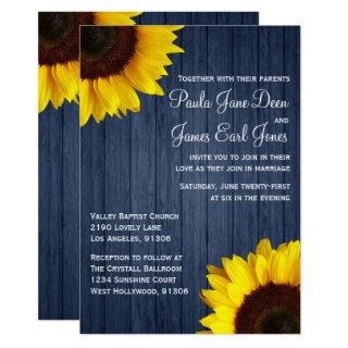 Navy Blue & Sunflower Wedding Invitations