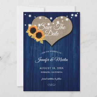 Navy Blue Sunflower Wedding Save The Date Cards