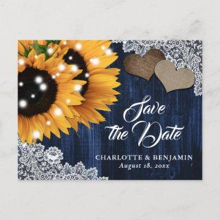 Navy Blue Sunflower Wedding Save The Date Postcard