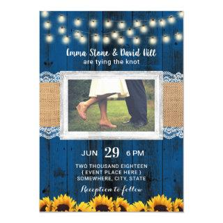 Navy Blue Sunflowers Rustc Wedding Photo Invitations