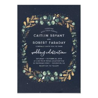 Navy Blue Teal Green and Gold   Greenery Wedding Invitations