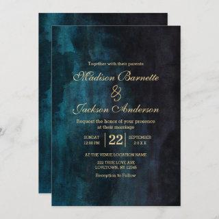Navy Blue Teal Watercolor Gold Wedding Invitations