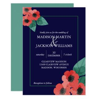 Navy Blue w/ Red Poppies Floral Wedding Invitations