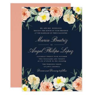 navy blue watercolor fall blooms wedding invitation