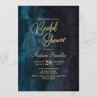 Navy Blue Watercolor Gold Bridal Shower Invitation