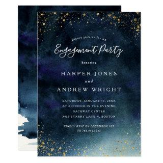 Navy Blue Watercolor Gold Glitter Engagement Party Invitations
