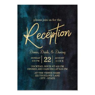 Navy Blue Watercolor & Gold Wedding Reception Invitations