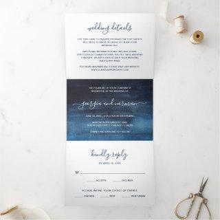 Navy Blue Watercolor Photo Wedding All In One Tri-Fold