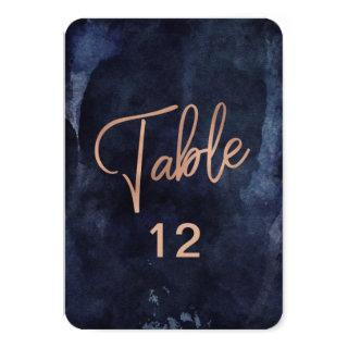 Navy Blue Watercolor Rose Gold Table Number Chart