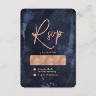 Navy Blue Watercolor & Rose Gold Wedding RSVP