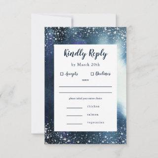 Navy Blue Watercolor Silver RSVP with meal choice