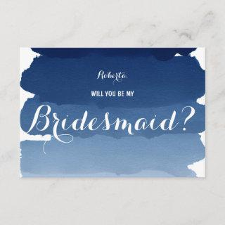 Navy blue watercolor Will you be my Bridesmaid