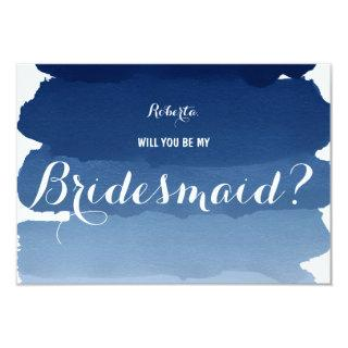 Navy blue watercolor Will you be my Bridesmaid Invitations