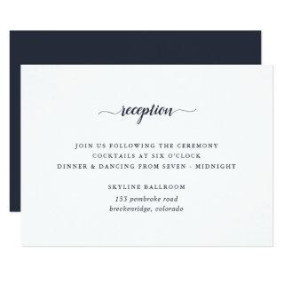 Navy Blue & White Calligraphy Reception Card