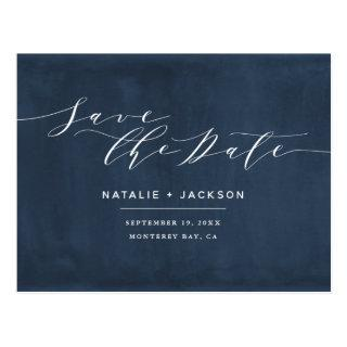 Navy blue + white elegant wedding save the date postcard