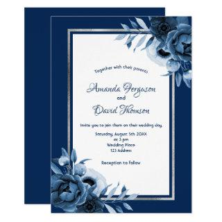 Navy blue white florals silver wedding Invitations