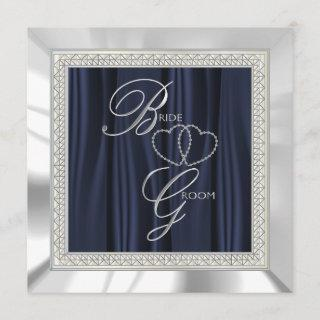 Navy Blue, White Satin and Silver Wedding Invitations