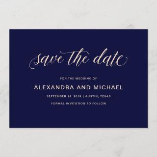 Navy Blue with Blush Typography | Save the Date
