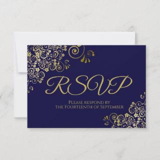 Navy Blue with Elegant Gold Lace Wedding RSVP Card