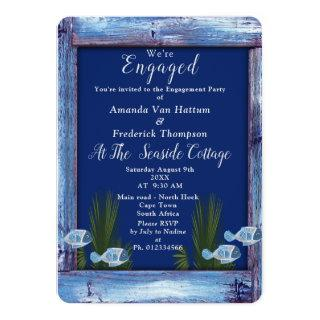 Navy - Blue  Wood & Fish Engagement Invitation