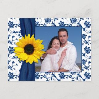 Navy Blue Yellow Damask Sunflower Save the Date Announcement Postcard