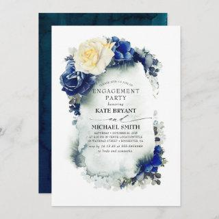 Navy Blue Yellow Floral Modern Engagement Party Invitations