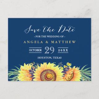 Navy Blue Yellow Sunflowers Wedding Save the Date Announcement Postcard