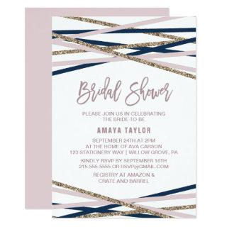 Navy Blush and Gold Streamers Bridal Shower Invitation