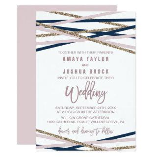 Navy Blush and Gold Streamers Wedding Invitations